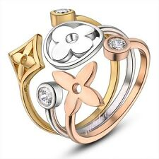 18k GP crystal stylish 3-in-1 love ring wedding / party gift free shipping R645
