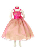 Two Colors Combination Bodice with matching Organza and Lining Flower Girl Dress