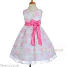 Floral Pattern Flower Girl Spring Summer Dress Wedding Party Pink Size 4-8 SD013
