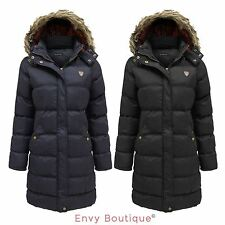 BRAVE SOUL LADIES FUR HOODED QUILTED PADDED PUFFER LONG PARKA JACKET COAT 8-24
