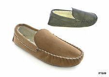 NEW MENS TAN GREY WARM FAUX FUR SUEDE MOCCASIN STYLE SNUGG SLIPPERS SIZE UK 7-12