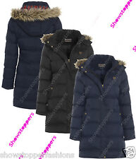 NEW PADDED Womens HOODED WINTER COAT Ladies Jacket Size 8 10 12 14 16 Parka Fur