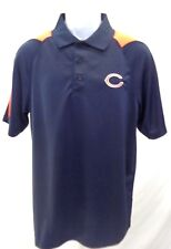 Chicago Bears Football Adult C on Chest Orange Shoulders Short Sleeve Polo Navy