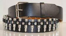 New Cool Mens Goth Punk Leather Gun Silver Bullet Studded Snap On Buckle Belt