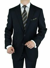 Luciano Natazzi Men's Black Stripe Ticket Pocket Cashmere Wool Suit