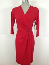 Calvin Klein  NEW Red 3/4 sleeve Dress With Faux wrap and CK Broche  front trim