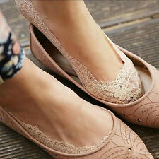 Women Cotton Lace Antiskid Invisible Liner No Show Peds Low Cut Socks