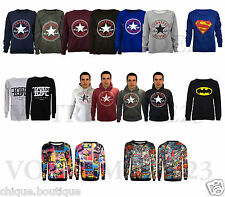 Mens Women's Converse Superman Batman Hoody All Over Print Sweatshirt Jumper Top