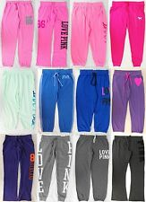 VICTORIA'S SECRET SWEAT PANTS LOVE PINK SWEATS CAMPUS UNIVERSITY FLARE CROP NWT