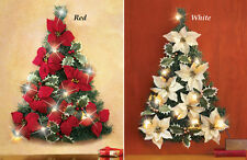 Collections Etc Led Lighted Poinsettia Christmas Tree Wall Decoration