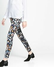 NEW ZARA 2013 NAVY BLUE FLORAL PRINTED TROUSERS PANTS M