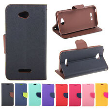 Deluxe Wallet Leather Skin Flip Folio + Tpu Case Cover For HTC Desire 616