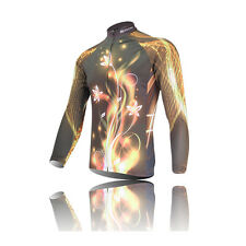 XINTOWN Mens Cycling Jerseys Gray Flower Long Sleeve Cycling Apparel Sportswear