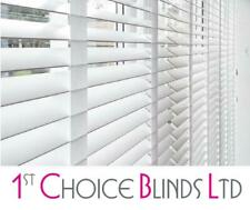 Made to Measure DELUXE SUNWOOD GLOSS WHITE Wooden Venetian Blinds with Tapes