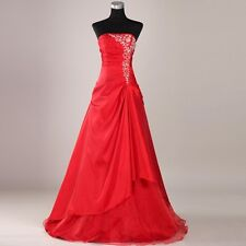 GK Eye-Catching Women's Long Wedding Dress Strapless Appliqued Bridal Veil Red
