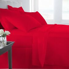 EXTRA DEEP POCKET SHEET SET EGYPTIAN COTTON 201-500TC BLOOD RED 1PC/3PC/4PC/6PC
