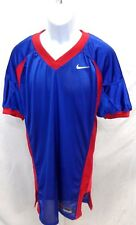 College Authentic Blank Football Jersey Royal Red Trim and Sides Pro Cut
