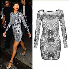 Womens Ladies Celeb Evening Party Printed Long Sleeved Monochrome Bodycon Dress