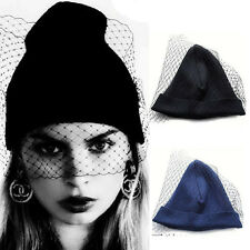 Fashion Women Girls Retro Dress Hat Mesh Net Veil Knitting Bowknot Beanie Hats