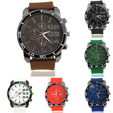 Men's Stainless Steel Dial Silicone Rubber Band Sport Analog Quartz Wrist Watch