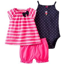 NEW NWT Girls Carter's 3 or 6 Months 3 Piece Set Bloomers Top Bodysuit Ice Cream
