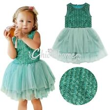 Toddler Baby Girls Rose Flower Layers Tulle Tutu Birthday Party Dress Clothes