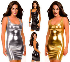PLUS SIZE Vinyl PVC PUNK Mini Dress Dance Clubwear Bodycon SM XL 2XL 3XL 4XL 5XL