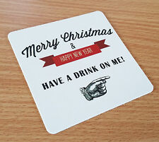 Merry Christmas Have A Drink On Me Christmas Card Beer Mats Pubs Greetings Funny