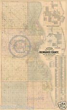 1893 Historical Map Milwaukee County Wisconsin Land Ownership