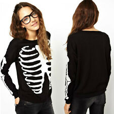 Women Skull Printed Knitted Sweater Pullover Crewneck Knitwear Long Sleeve Tops