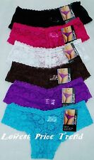 LOT OF 6 pcs SEXY LACE Floral FULLY LACEY BOYSHORTS PANTIES S M L XL NEW #LB7120