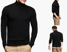 Mens Warm Loose Turtleneck Sport Sweater Chic Pullover Black Coffee M to XXL