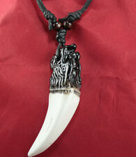 Imitation beef bones wolf tooth counteract evil force leather cord necklace