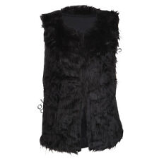 LADIES FAUX FUR GILET WOMENS SLEEVELESS VEST JUMPER TOP SIZE 8-14