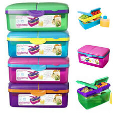 SISTEMA 2Ltr QUADDIE LUNCHBOX CONTAINER + BOTTLE LUNCH BOX  SCHOOL BPA  Free
