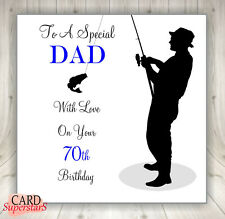 """Large 8""""sq  Personalised FISHING Birthday Card Dad Brother Son Husband Uncle ANY"""