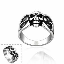 Mens Biker Skull Head Skeleton Punk Style Stainless Steel Ring Jewellery 3 Sizes