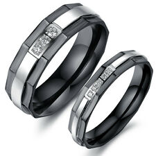 Couple Full Titanium Steel Ring Set Clear Swarovski CZ His And Her Wedding Bands