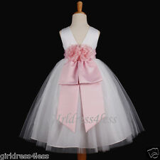 WHITE/PINK WEDDING PAGEANT PRINCESS FLOWER GIRL TULLE DRESS 12-18M 2 4 6 8 10 12