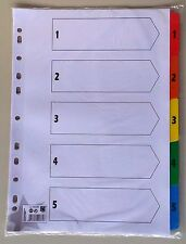 INDEX DIVIDERS: Pack of 7 A4 5 Star 230 Micron Card with Coloured MylarTabs 1-5