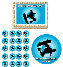 Extreme skateboarding Boys  Edible Birthday Party Cake Topper Cupcake Decoration