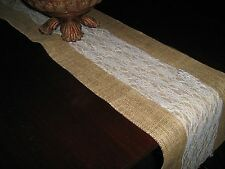 """Burlap Table Runner w/Lace 12""""wide-Weddings-Special Events-Many size variations"""