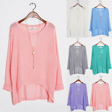 New 2014 Irregular Trends Women Crewneck Hollow Loose Pullover Shirt Blouse Tops