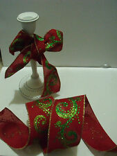 MADRAS Lime Green glitter swirls Red Burlap Christmas - Luxury Wire Edge Ribbon
