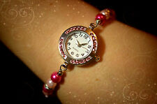 Personalised Wrist Watch Pink Diamante Beaded with Silver Charm Birthday Idea