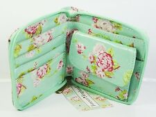 Purse Womens Wallet Zip Cream Green Floral Clutch Trendy Coins Notes Cards NEW