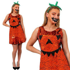 SEQUIN PUMPKIN DRESS LADIES HALLOWEEN FANCY DRESS COSTUME CLUBBING PARTY OUTFIT