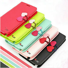 Luxury Cherry Flip Synthetic Leather Stand Cover TPU Case Strap For Mobile Phone