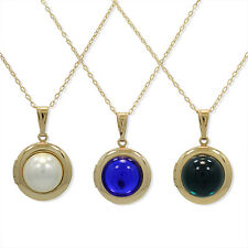 Gold Filled 18k Round Photo Locket Birthstone Pendant Necklace Chain Lady