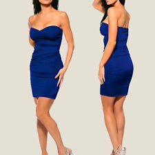 Ruched Strapless Evening Party Night Club Dress co9687 Cobalt Blue